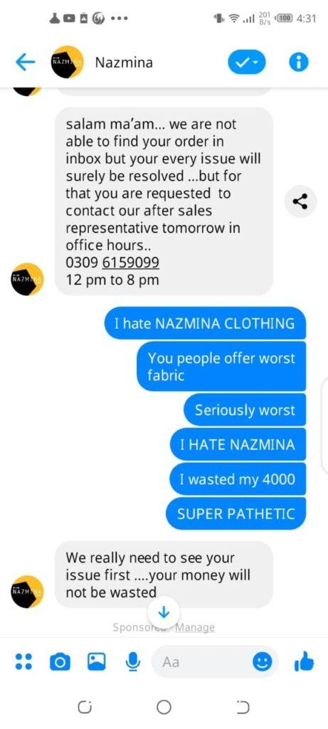 Nazima customer support